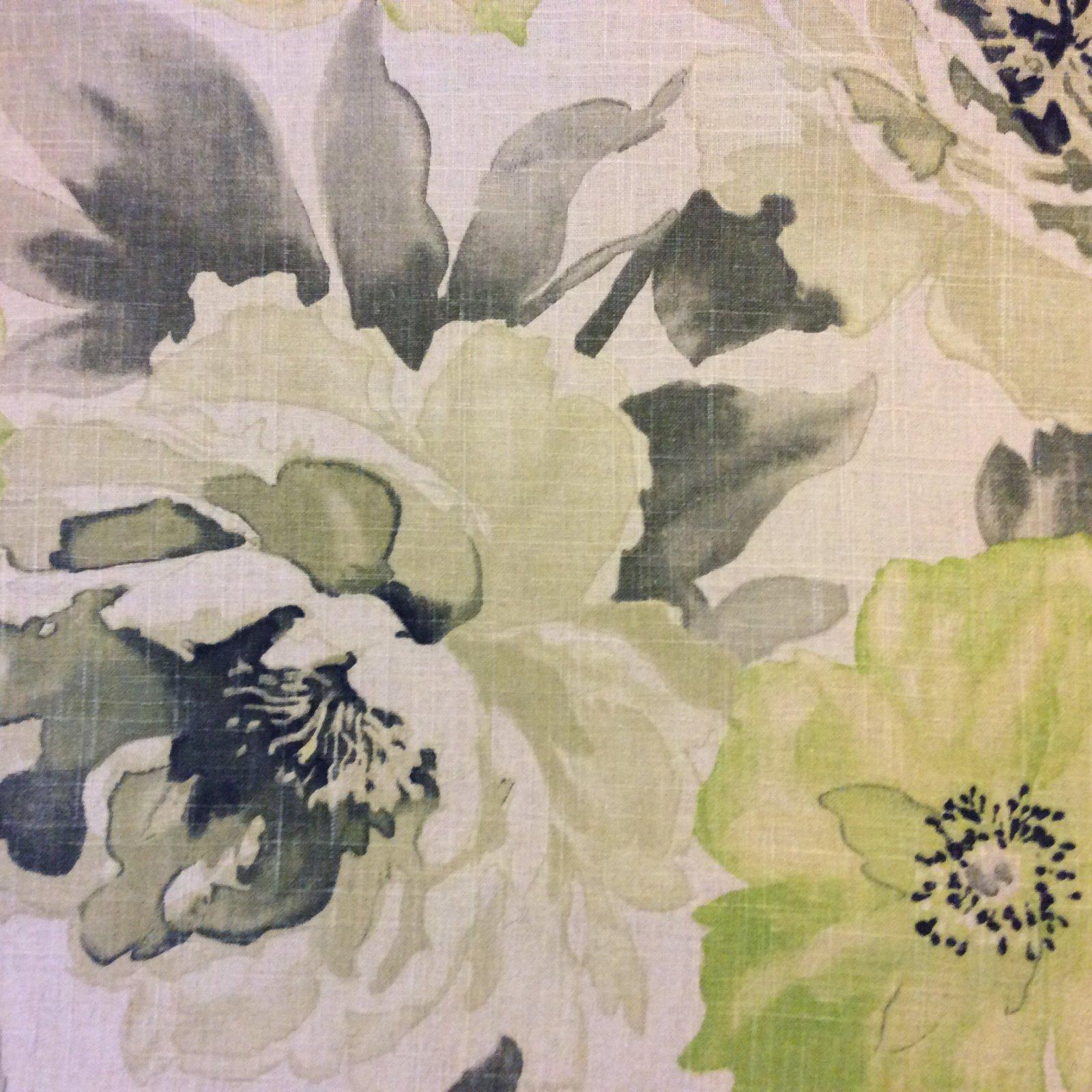 Watercolor Zen Amazing Linen Texture Modern Floral Print Fabric