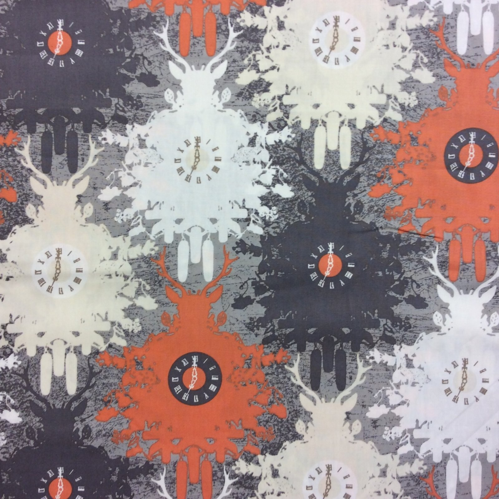 Art Gallery Cuckoo Clock Orange Grey Autumn Time Black Forest Style Cotton Quilt Fabric AR