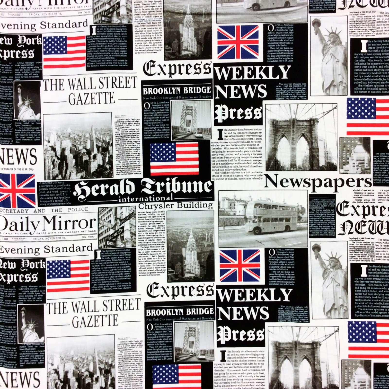 Newspaper Graphic Printing USA UK Breaking News Cotton Quilt Fabric BE17