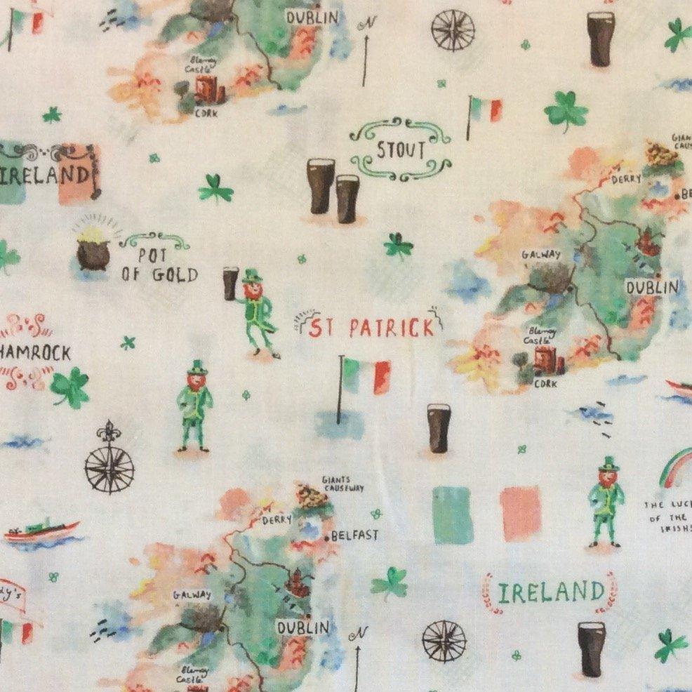 Ireland St Patrick's Day Erin Retro Mini Print Cotton Quilt Fabric FT72 FT172