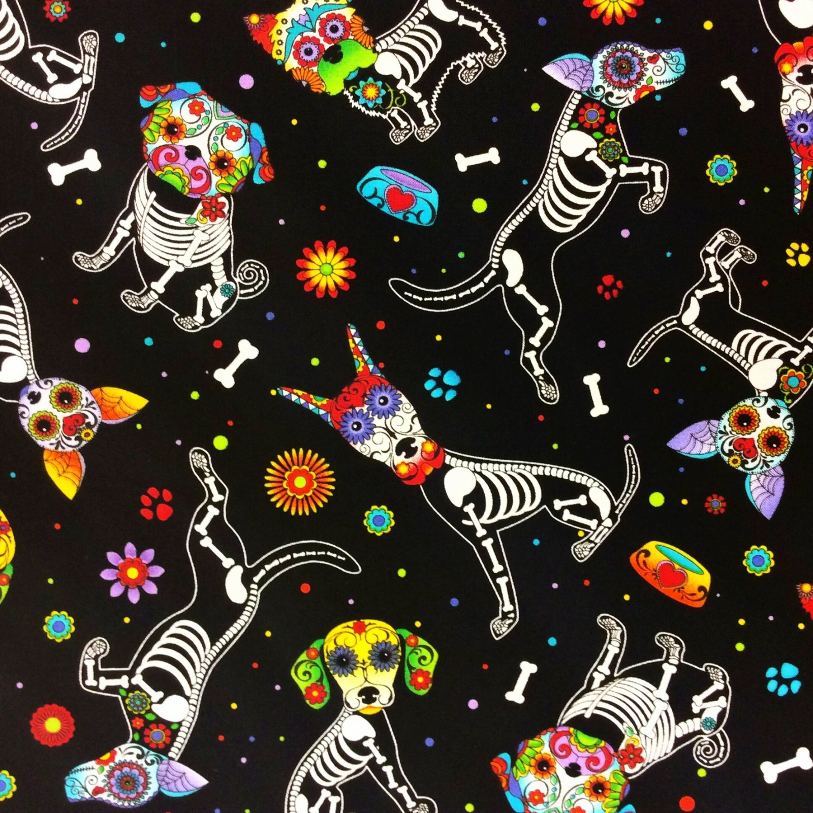 Day of the Dead Puppies Dia de los Muertos Dogs Cotton Quilt Fabric FT94