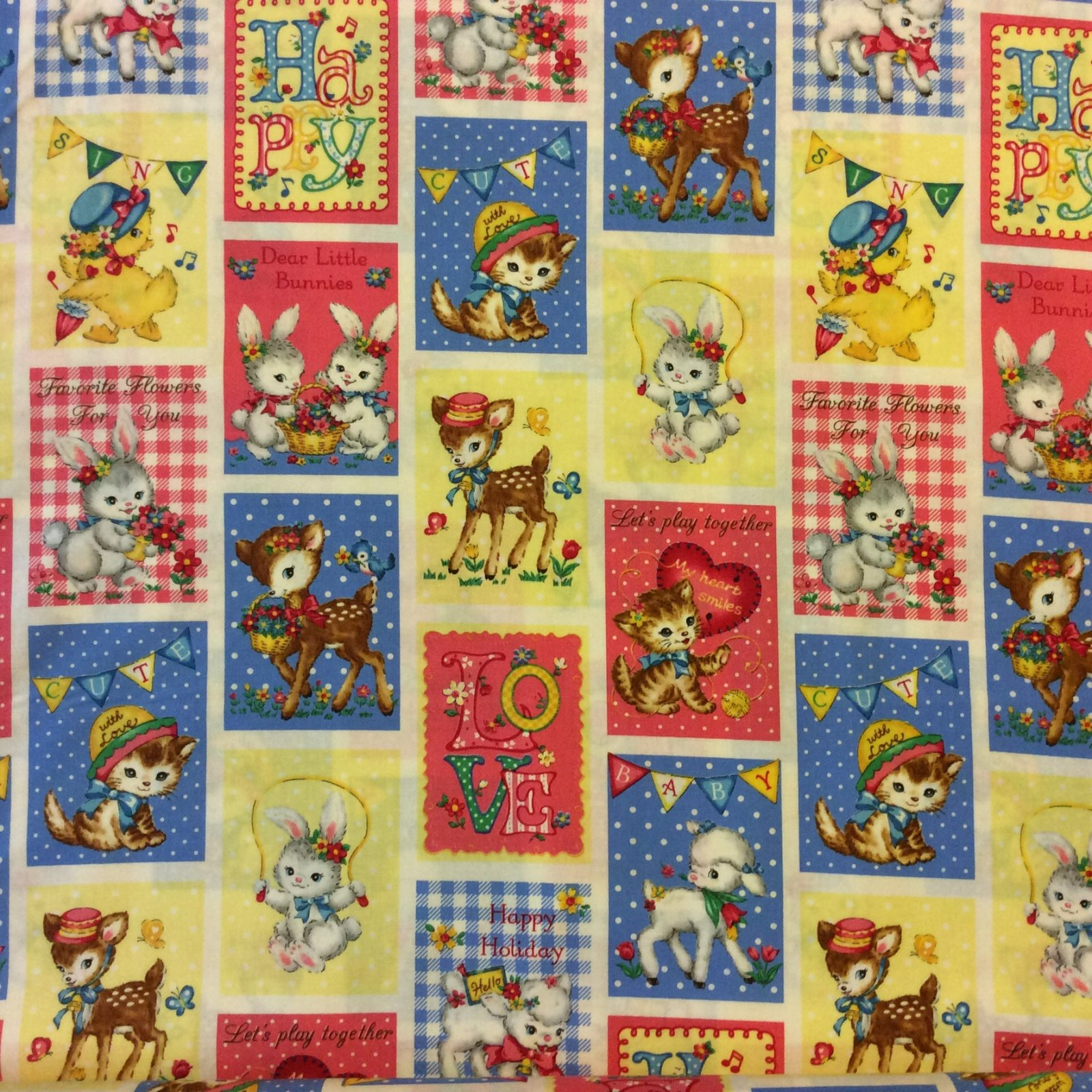 Japanese Asian Kitty Cat kitten Deer Lamb Valentine Print Retro Cotton Quilt Fabric QG14