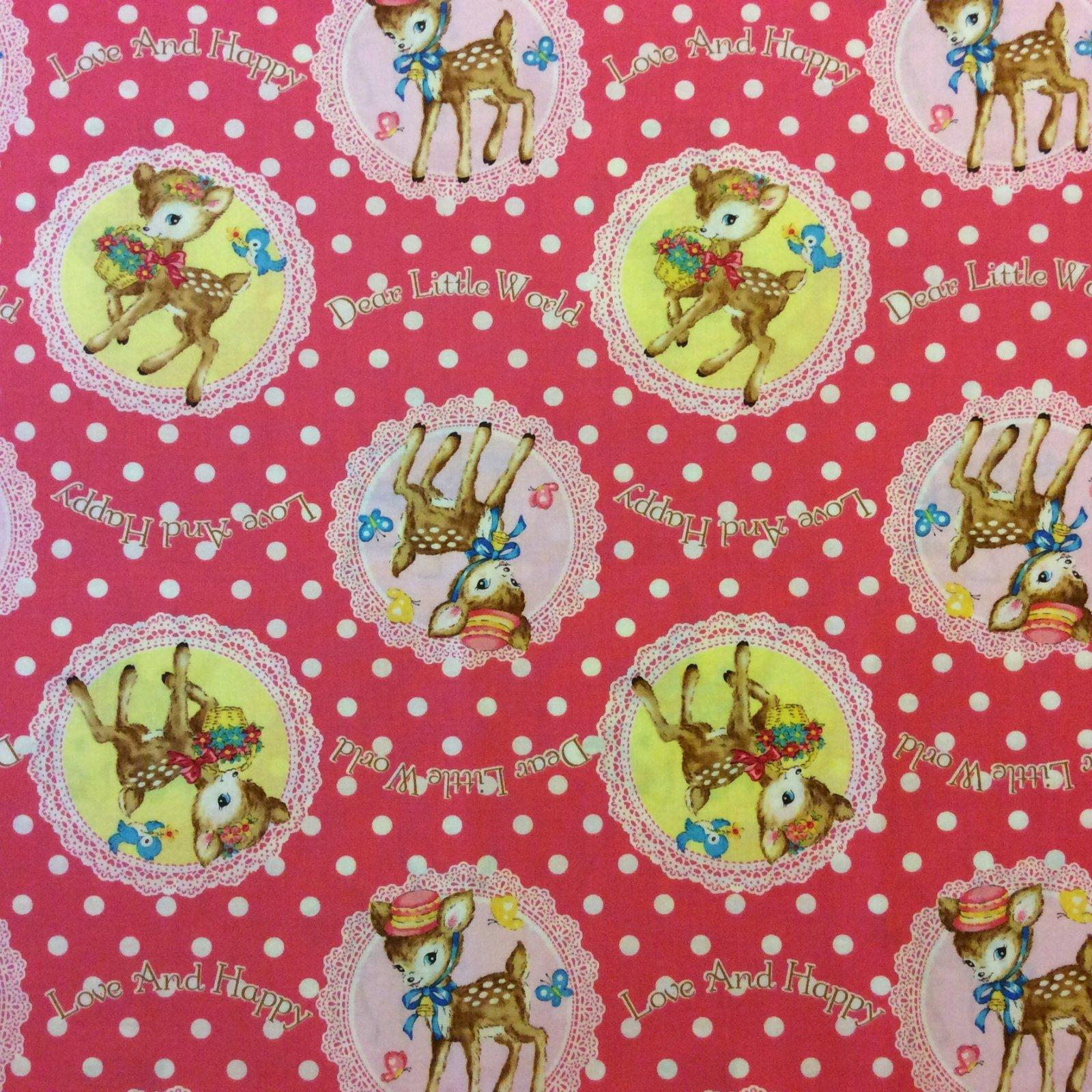Japanese Asian Baby Deer Fawn Valentine Retro Print Deer Dot Cotton Quilt Fabric QG13