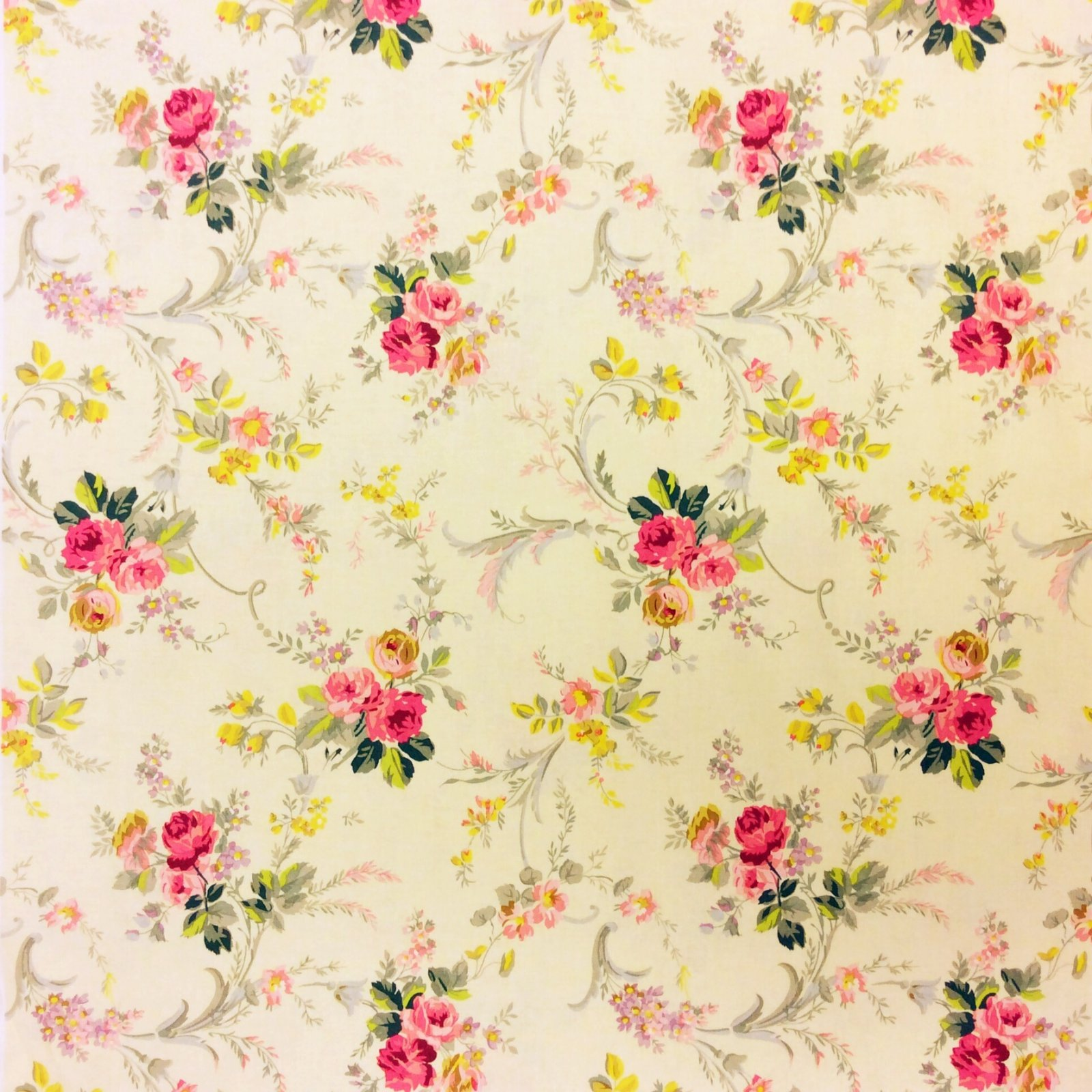 English Garden French Cabbage Rose Floral Cotton Quilt Fabric MD301