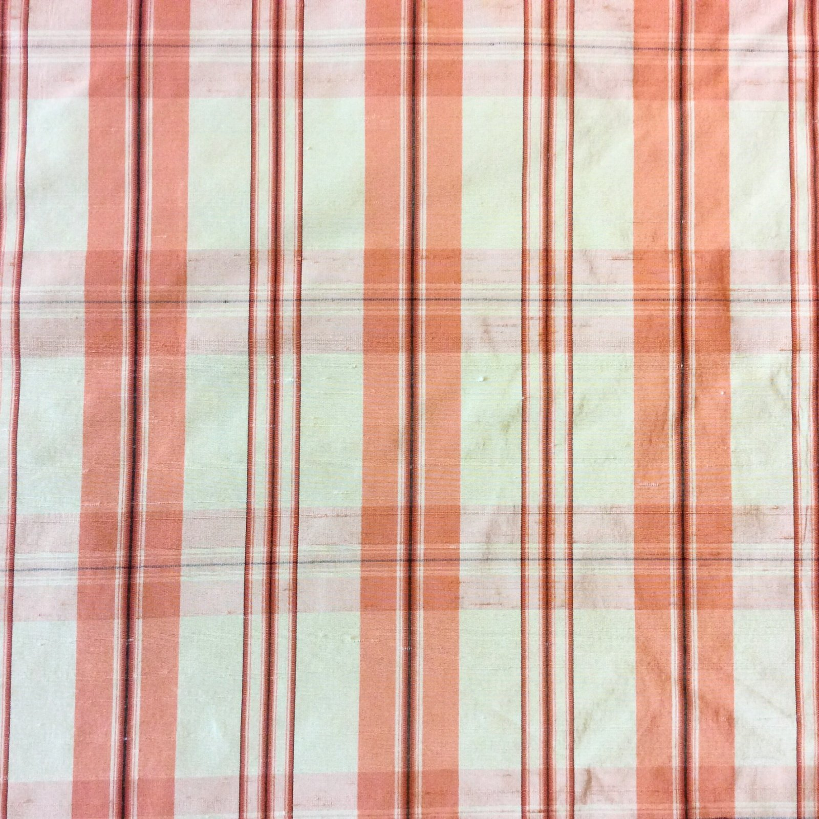 Clarence House Coral Check Plaid Taffeta Silk Fabric  CLA135