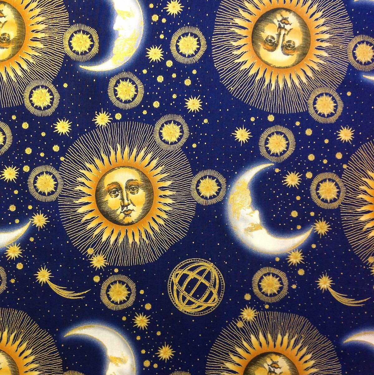 Stars planet zodiac sun moon sky constellation cotton for Space themed fleece fabric
