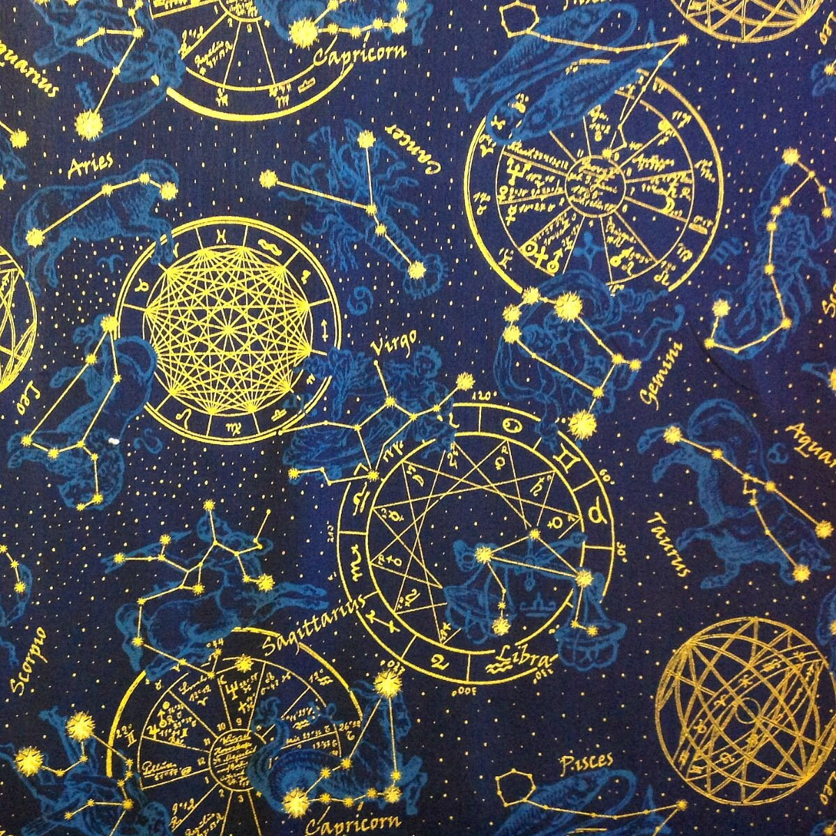 Outer space galaxy constellations stars zodiac for Space themed fleece fabric