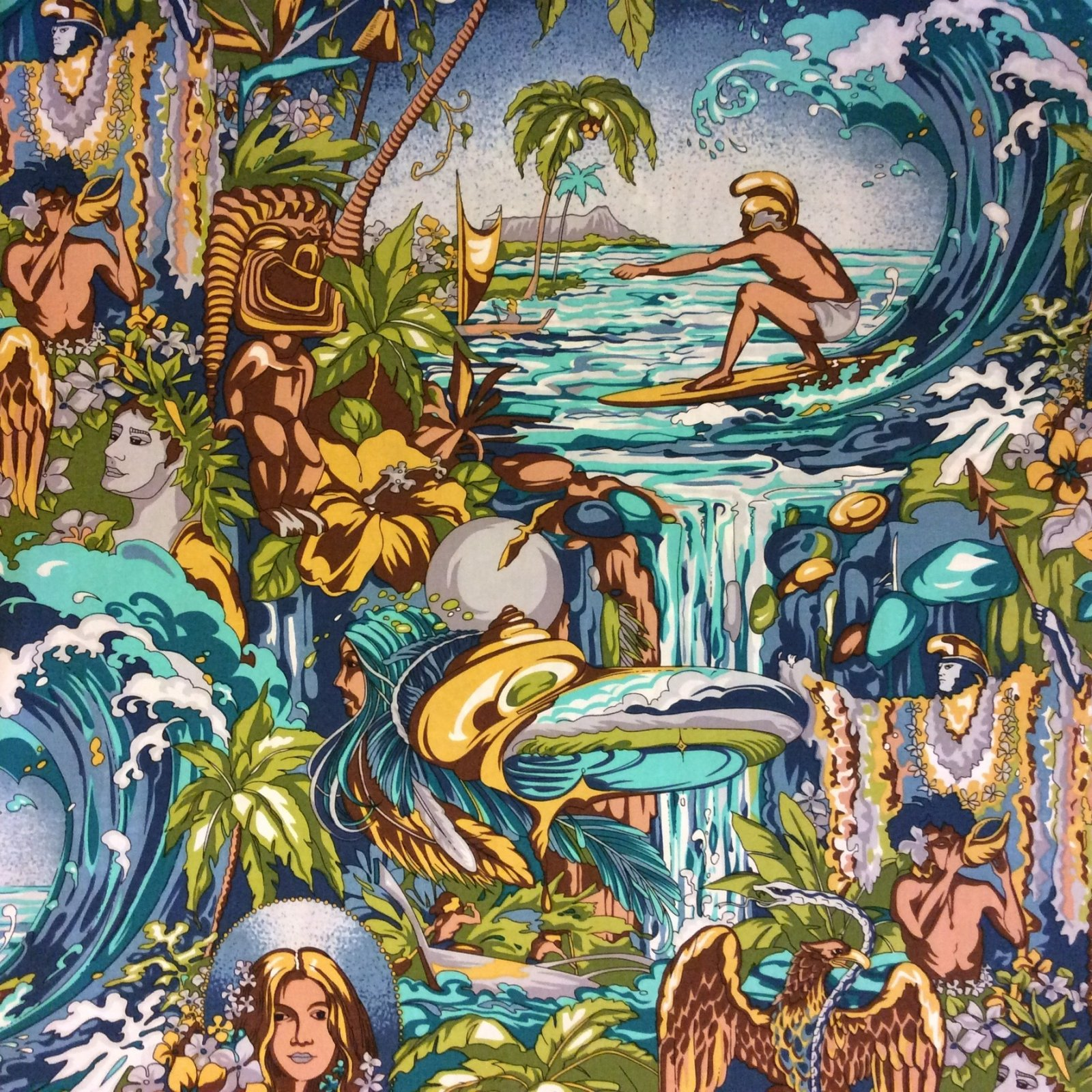 Surfer's Paradise Hawaiian Shirt Print Waikiki Guitar Music Surf Ocean Wave  Cotton Apparel or Quilt Fabric HM08