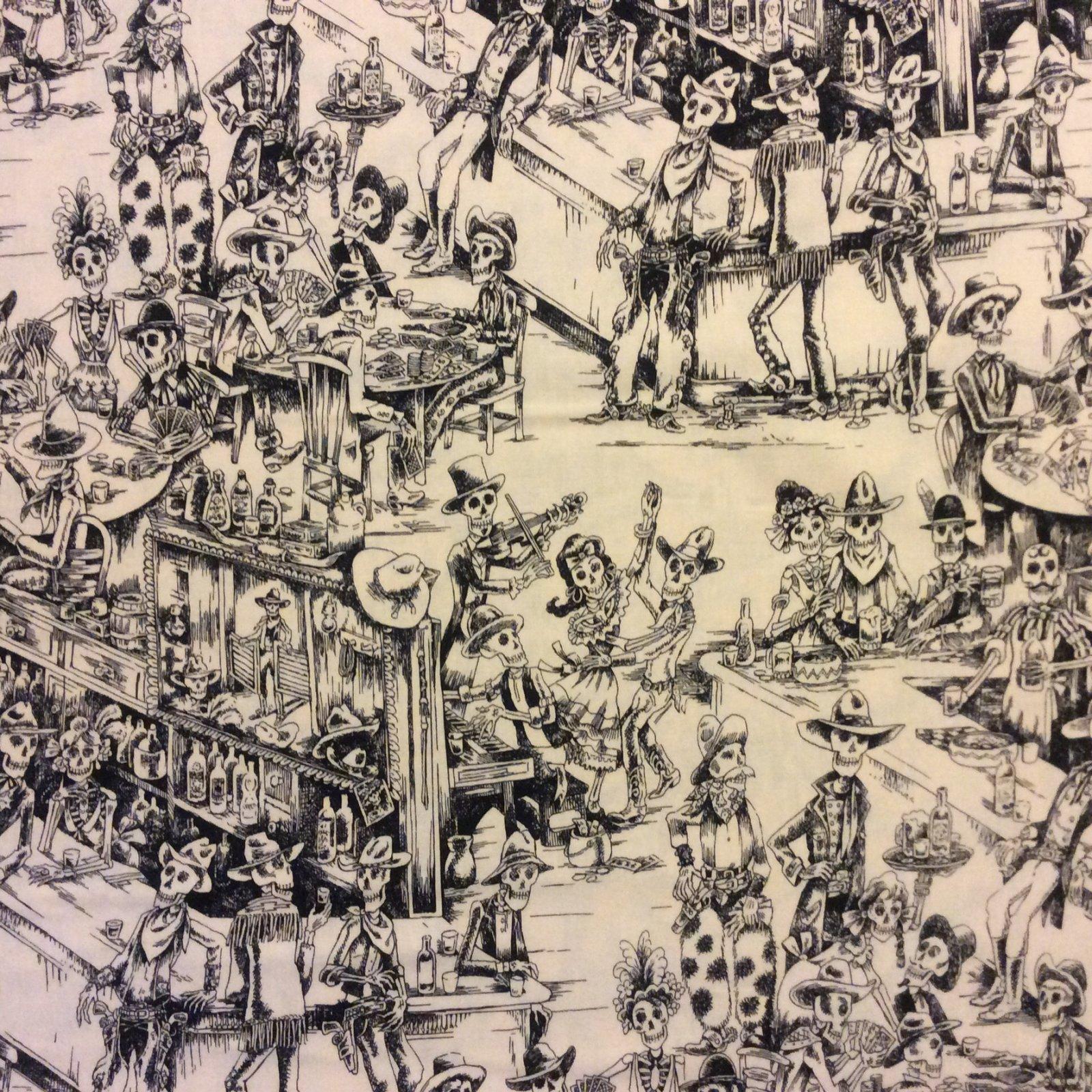 Dia de los Muertos Spooky Saloon Skeleton Toile Day of the Dead Skele-Toile Cotton Quilt Fabric  AH182