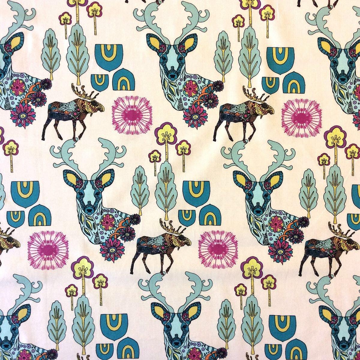 Deer Scandinavian Modern Pop Paisley Woods Cotton Quilt Fabric AR15