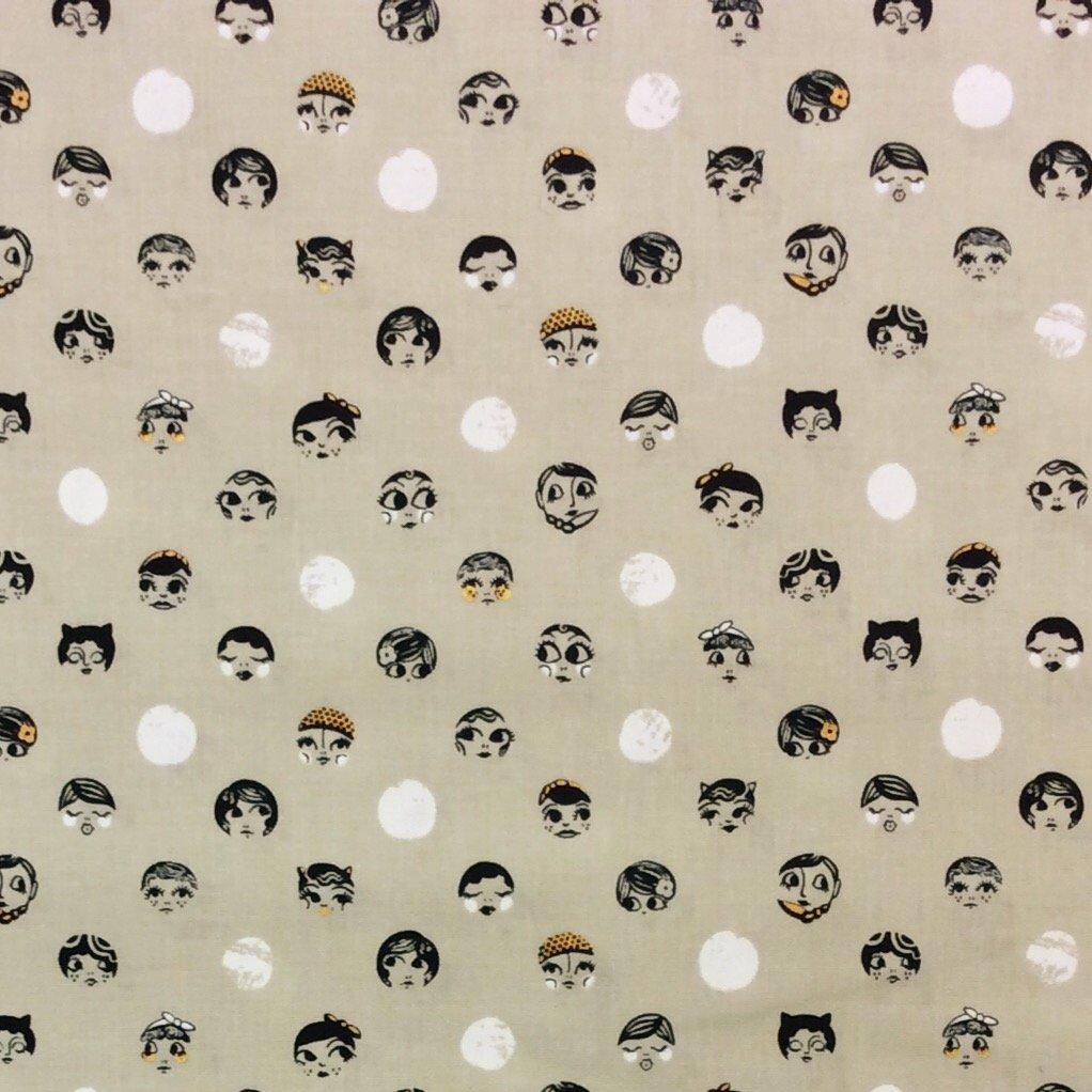 CTN44 Cotton + Steel Ladies Faces Grey Dots Dotty Retro 20's Cotton Quilt Fabric Sarah Watts