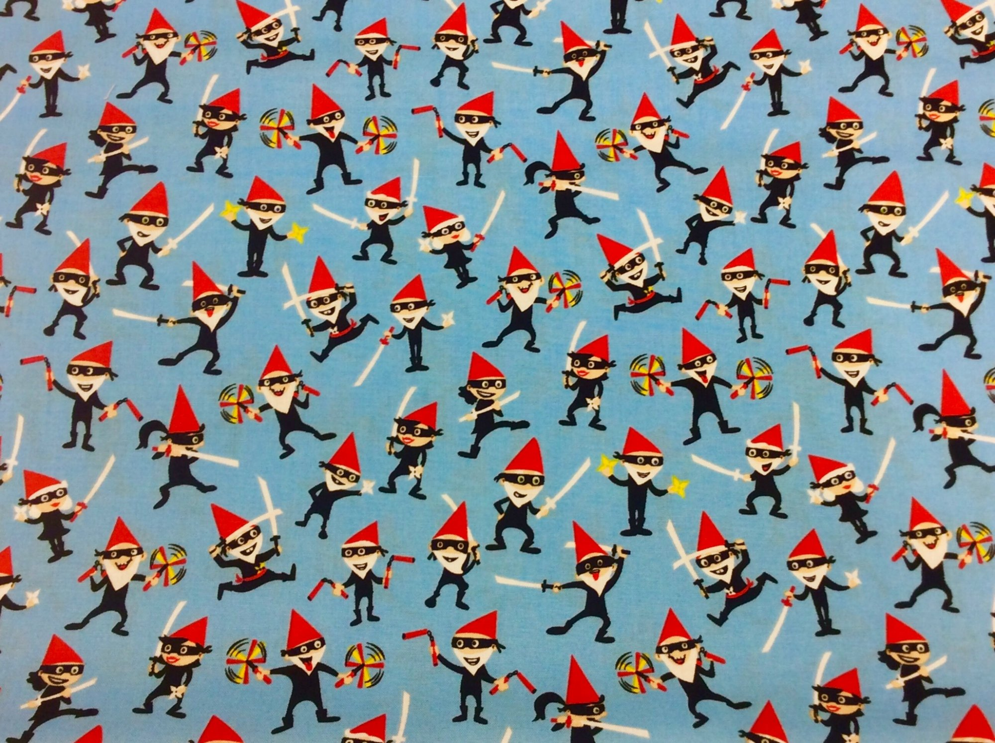 MM111 Gnome Gninjas Ninja Gnomes Retro Scandinavian Cotton Quilt Fabric