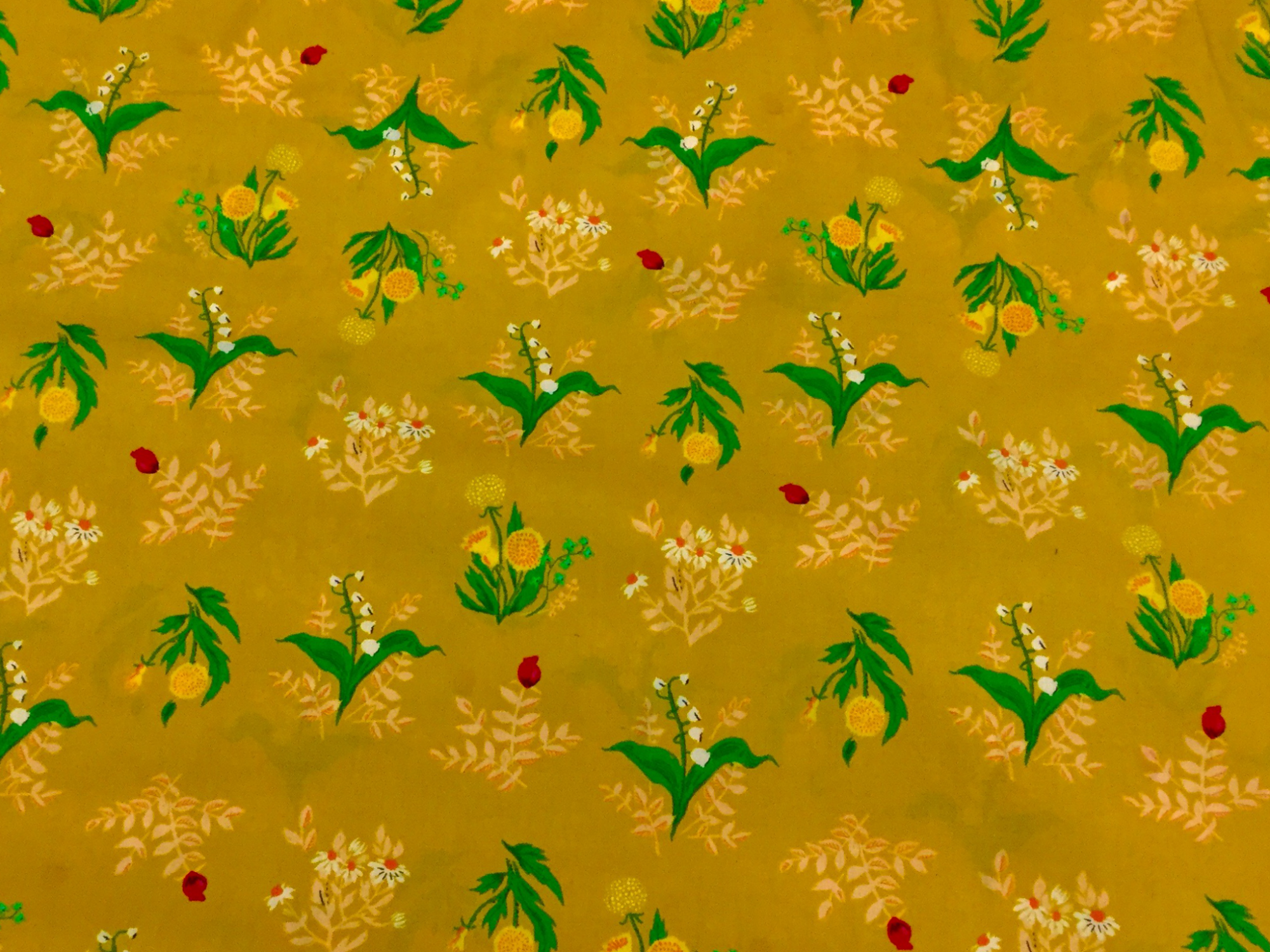 Heather Ross Sleeping Porch Golden Mustard Yellow Lily of the Valley Floral LAWN Cotton Fabric Wi95