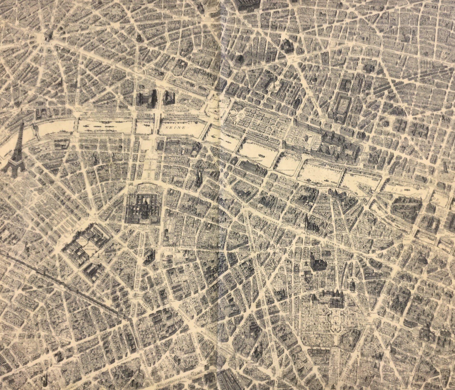 paris destination paris france street map eiffel tower notre dame river seine landmarks cotton quilt fabric wi99