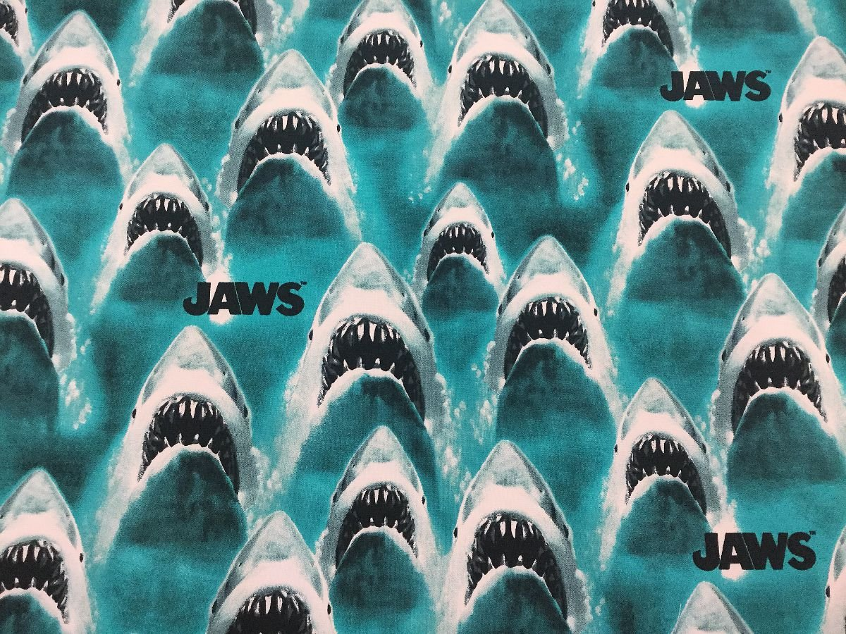 SC19 JAWS The Movie Shark Attack Peter Benchley Ocean Fish Cotton Quilt Fabric SC19