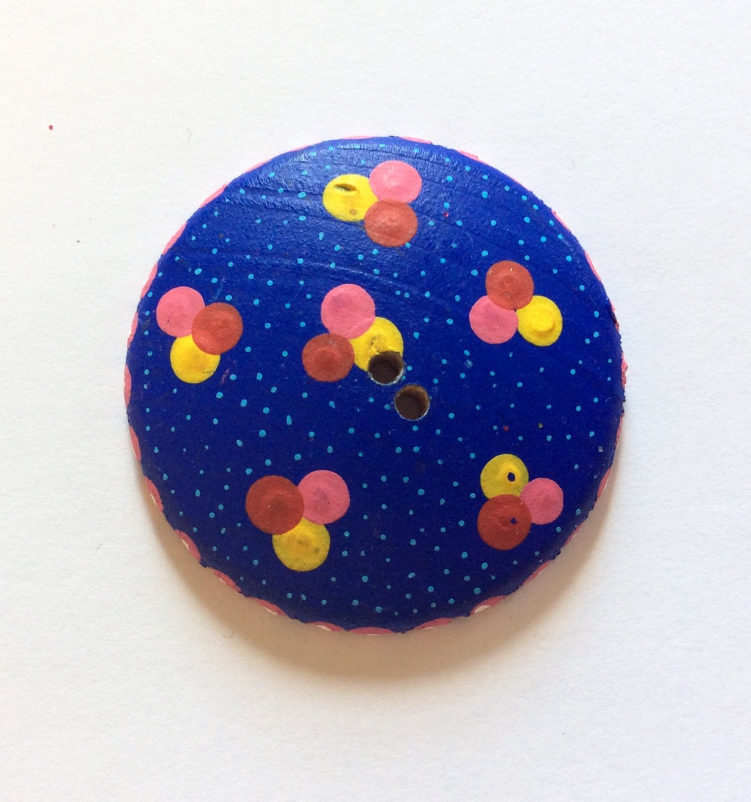 Oaxacan Artist Signed Hand Painted Sewing Button Oaxaca Mexico Folk Art Blue