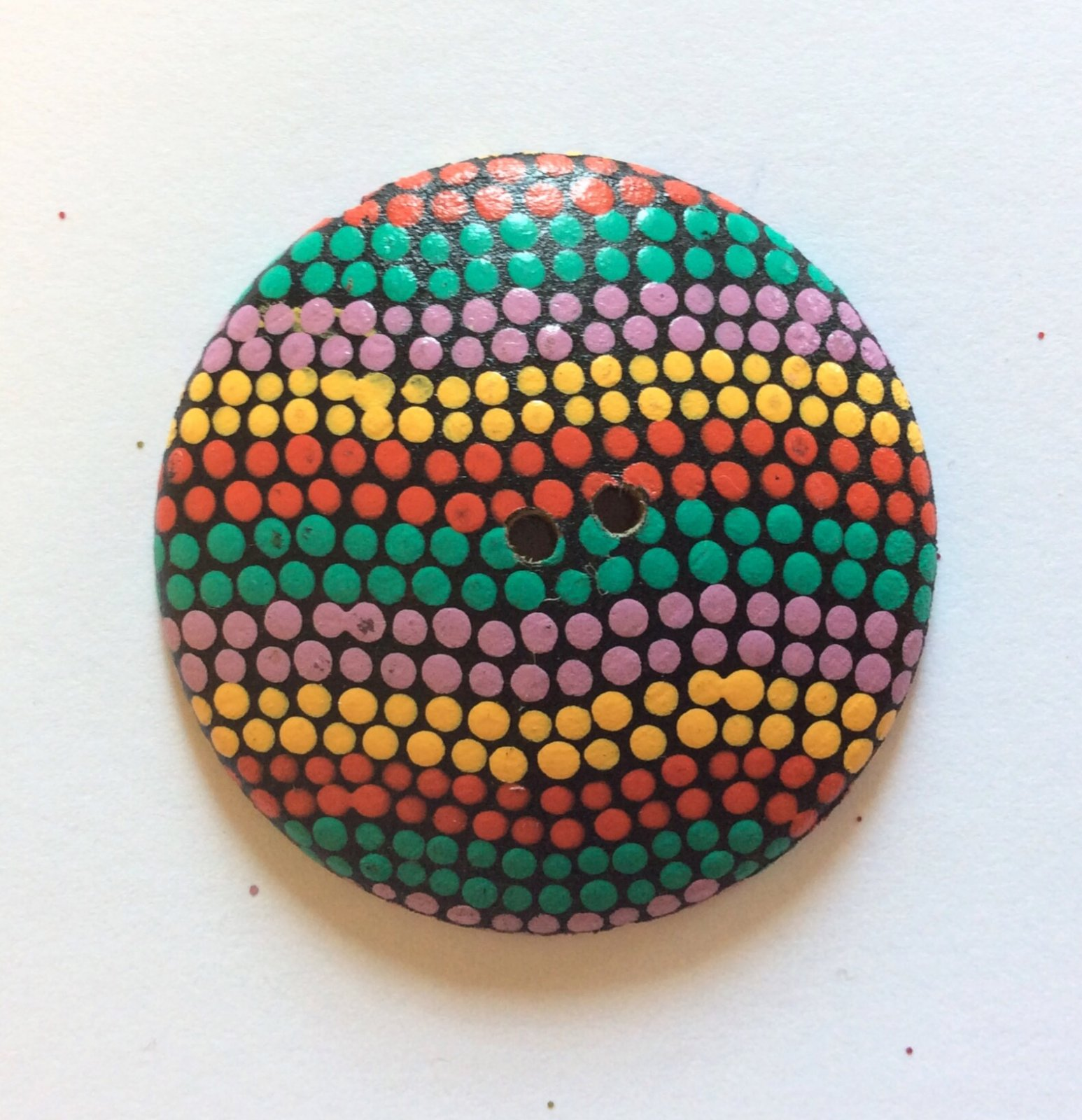 Oaxacan Artist Signed Hand Painted Sewing Button Oaxaca Mexico Folk Art Dotted