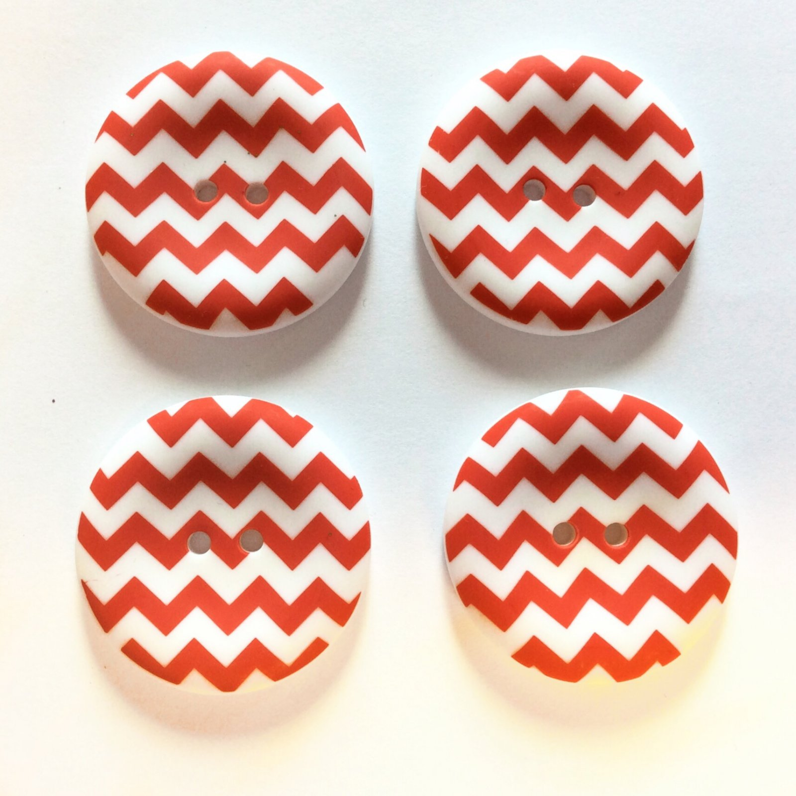 Retro Chevron Red White Sewing Button Set of 4 Buttons