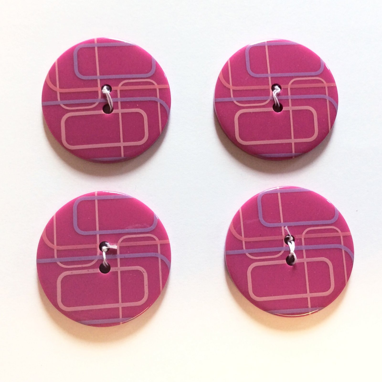 Retro Magenta Mod Blocks Sewing Button Set of 4 Sewing Buttons