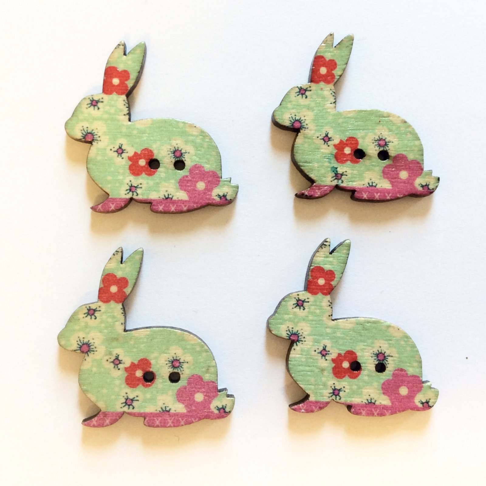 Hopper Rabbits Button Set of FOUR Sewing Buttons (Blue)
