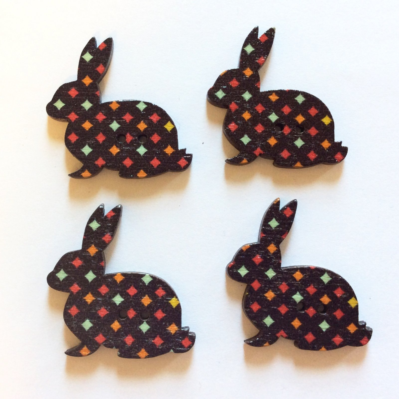 Hopper Rabbits Button Set of FOUR Sewing Buttons (Black)