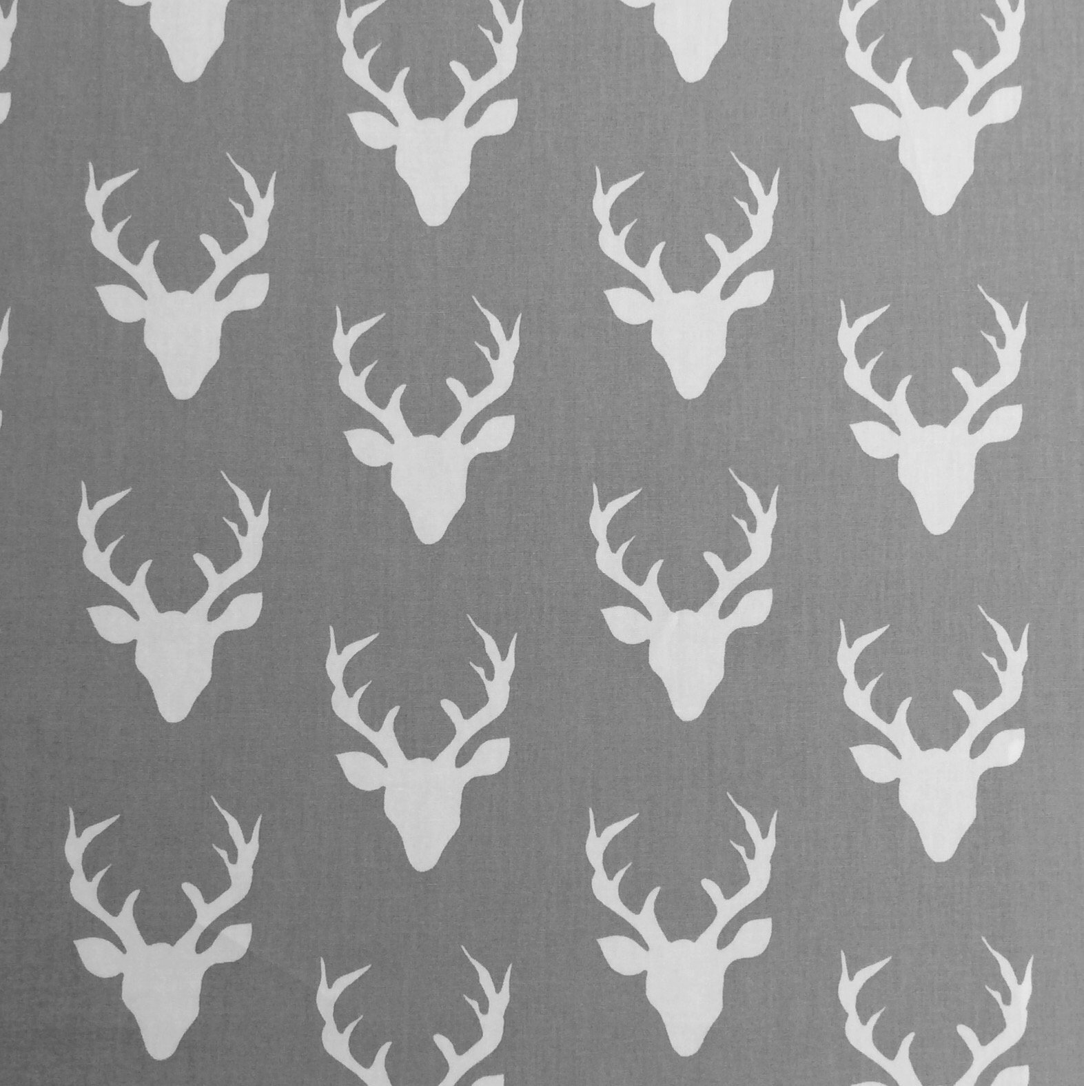 Deer Silhouette  Forest Scandinavian AR31 Cameo Antlers Cotton Quilt Fabric