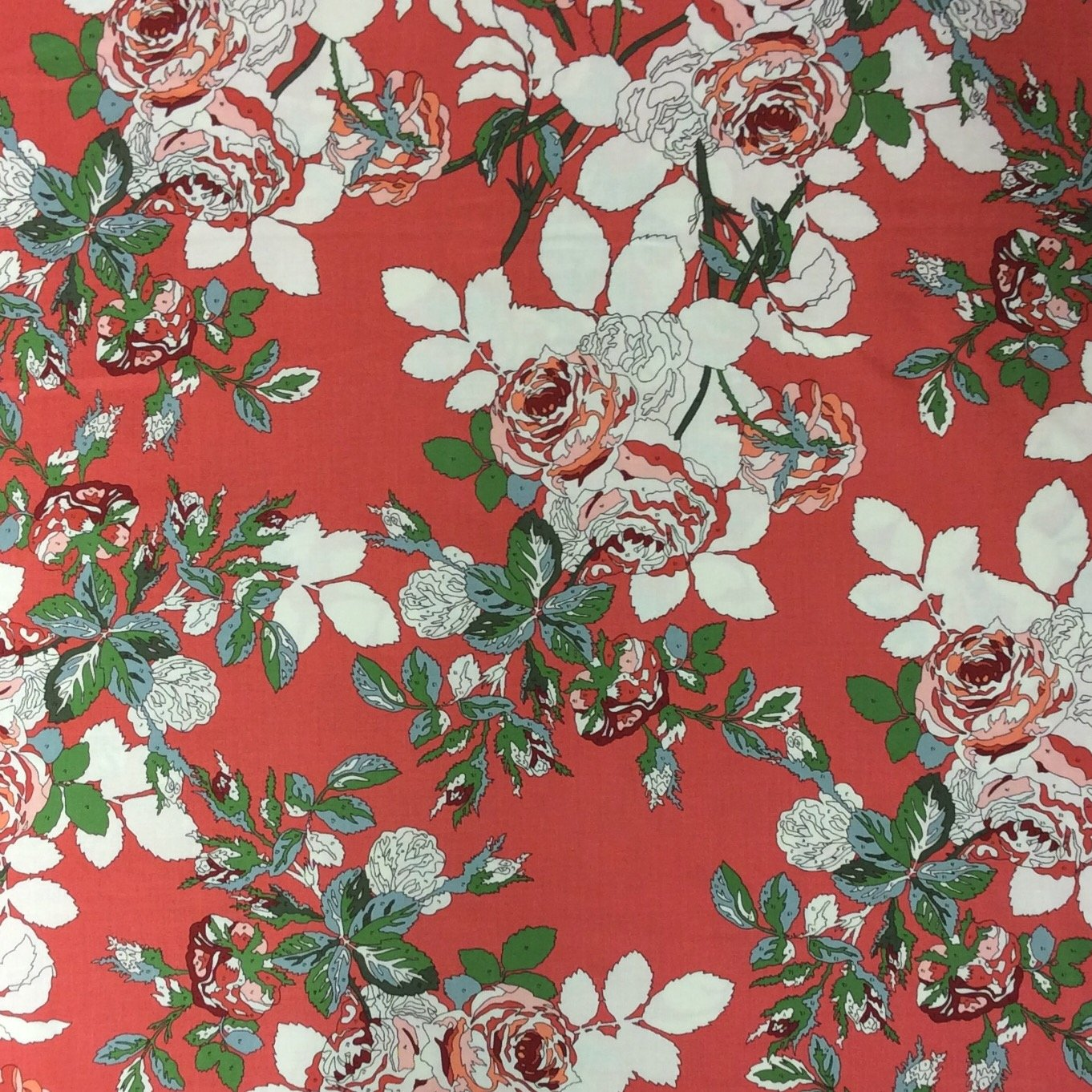 Paint By Number Red Roses Moda Cotton Quilt Fabric MO49