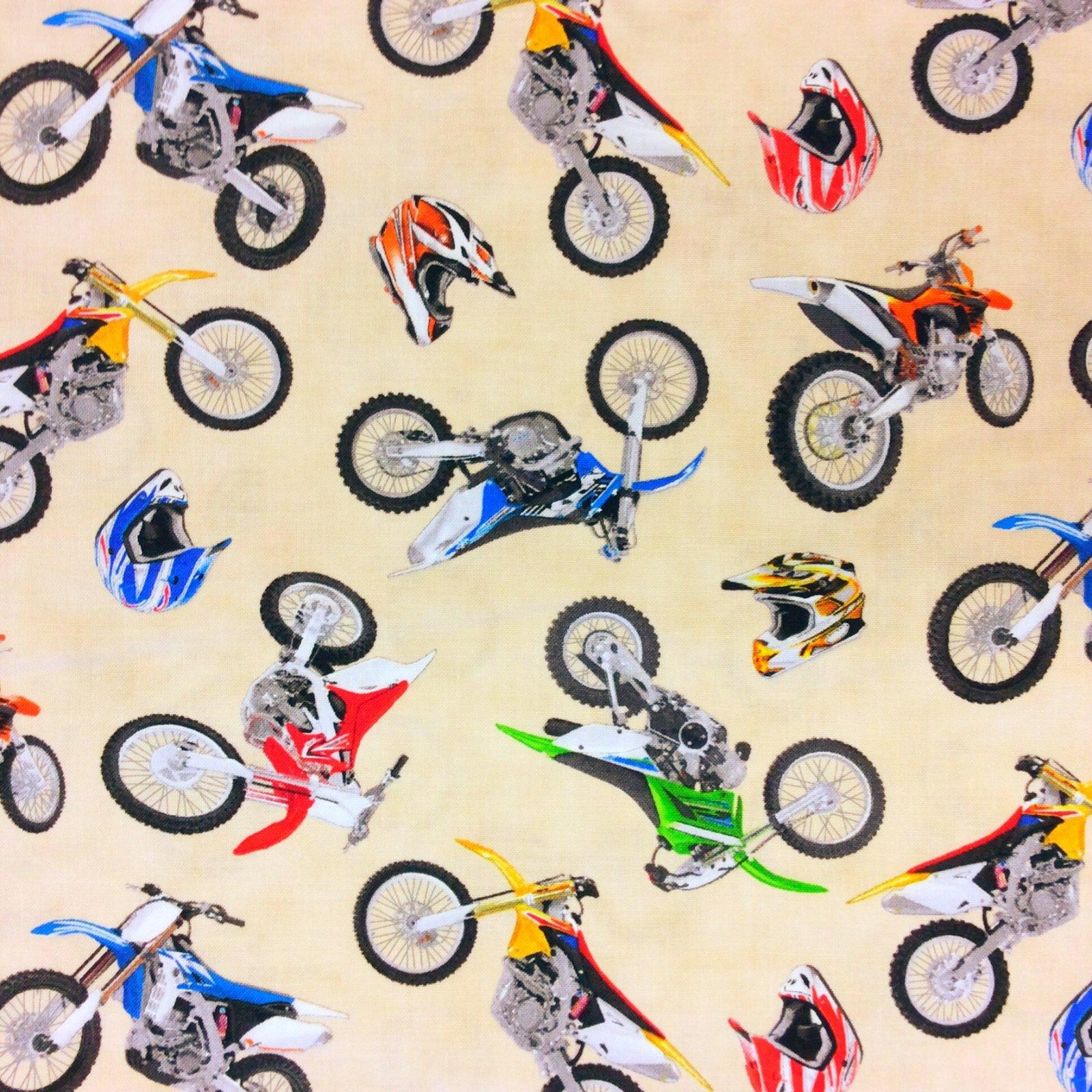 Dirt Bike Motocross Motorcycle cotton Quilt Fabric NT21