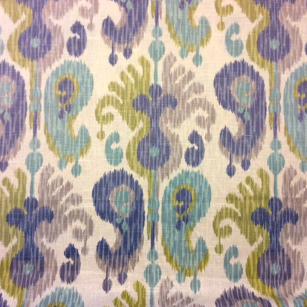 Aquamarine Journey Tranquil Ikat Exotic Linen Rayon Home Dec Drapery Fabric NL073