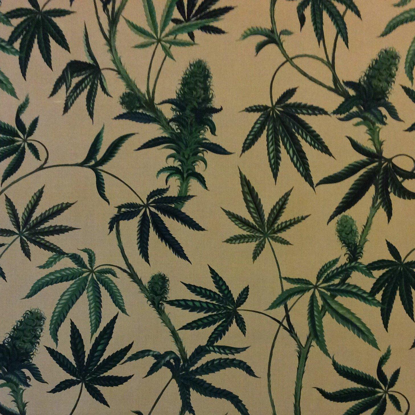 Marijuana CANVAS  Pot Cannabis Wish Cotton Fabric HAH179