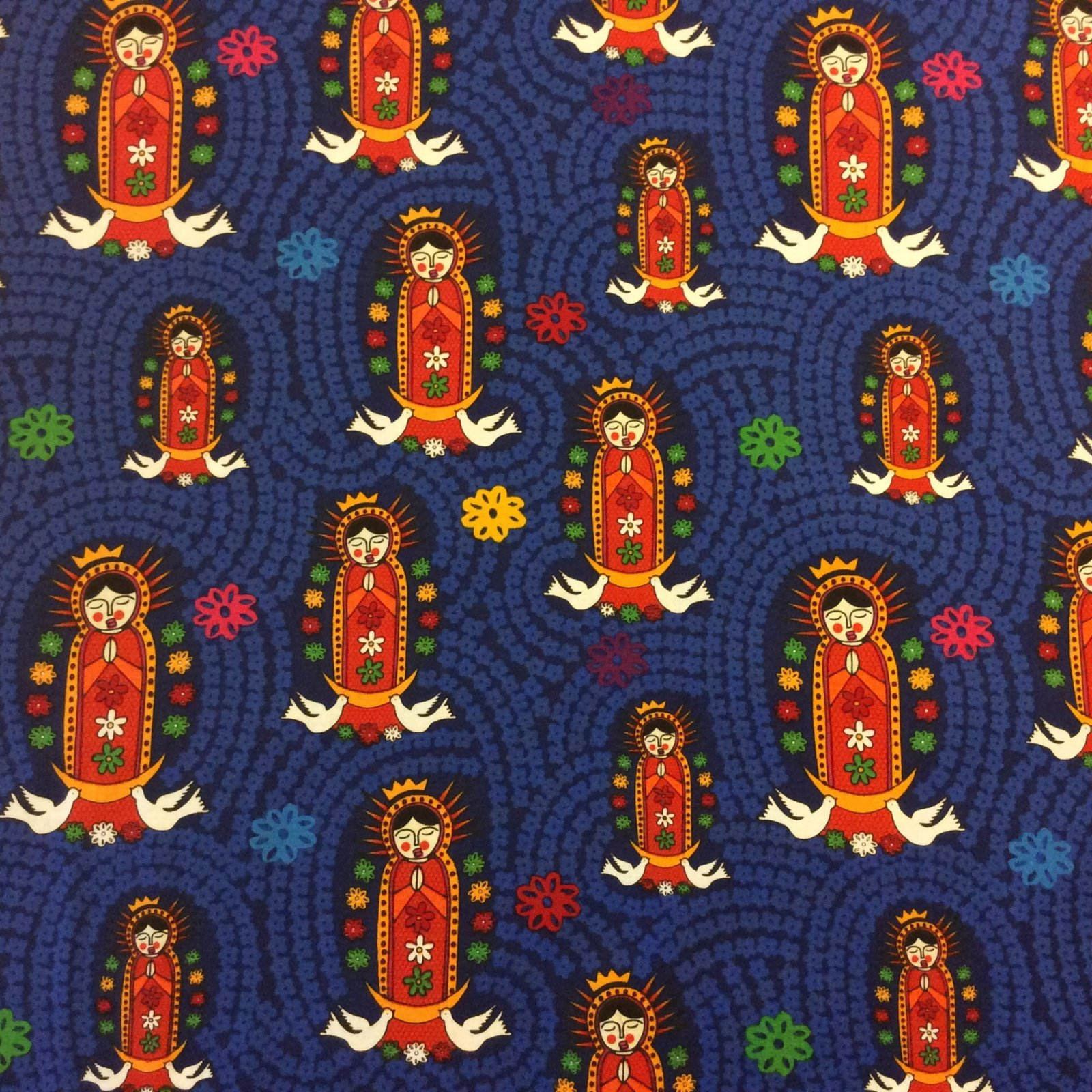 Our Lady of Guadalupe Virgin Mary Cotton Quilt Fabric  FF78