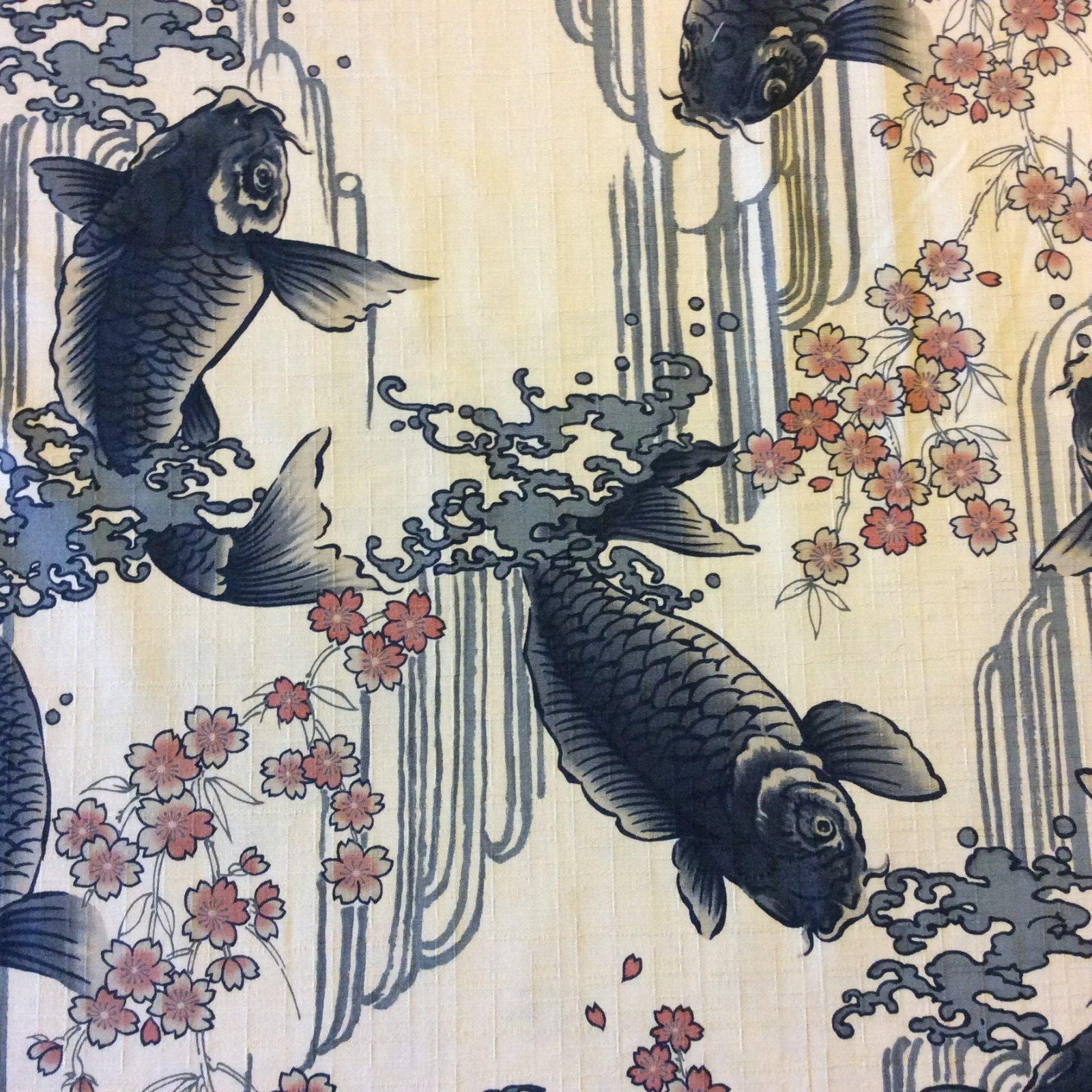 ek49 Japanese Asian Dobby  Koi Fish Waterfall Dobby Textured Cotton Fabric EK49