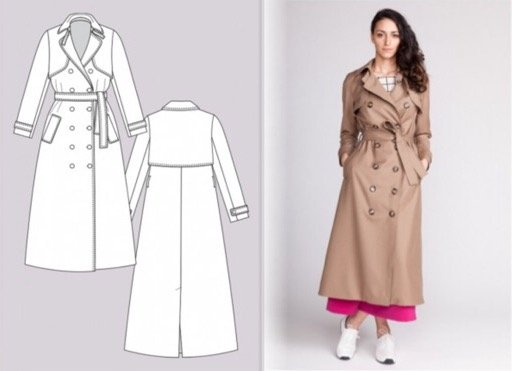 NAMED Clothing Pattern The Isla Trench Coat Printed Pattern