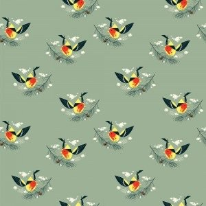 Charley Harper Western Tanager Western Birds Organic Cotton Quilt Fabric CHB64