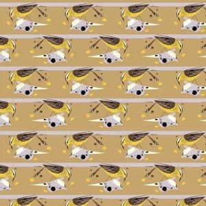 Charley Harper Cactus Wren Western Birds Organic Cotton Quilt Fabric CHB58