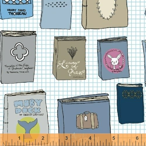 Literary Collection Books Cotton Quilt Fabric WI101