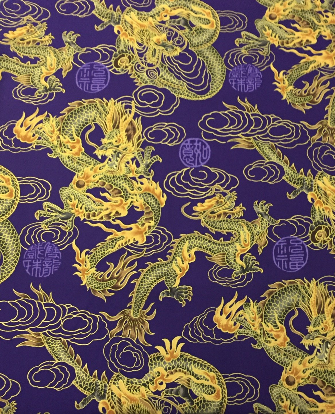 Asian Exotic Dragon Japan TP014 Fire Cloud Purple Japanese Asian Cotton Quilt Fabric