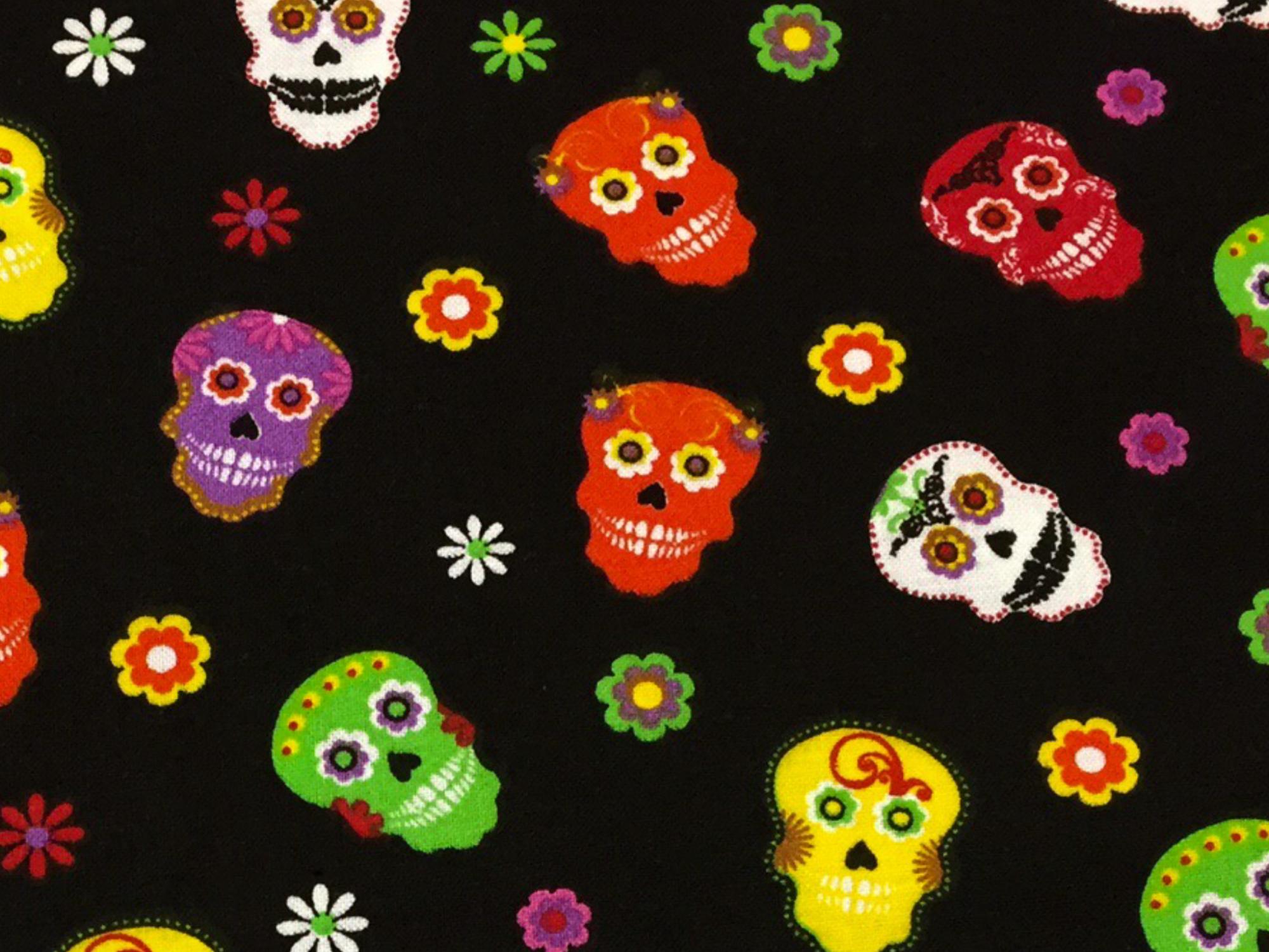 Skulls Voodoo Skulls Cotton Quilt Fabric MD274