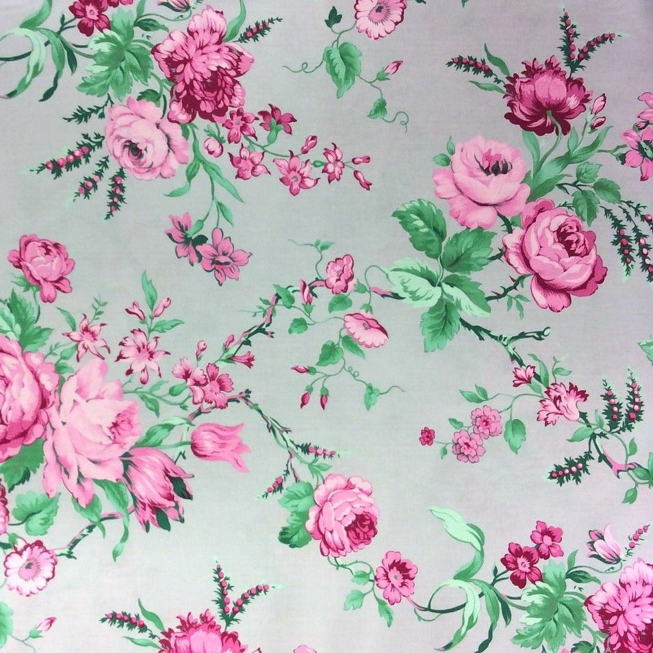 English Garden Cabbage Rose Floral French Country Cotton Quilt Fabric WE139