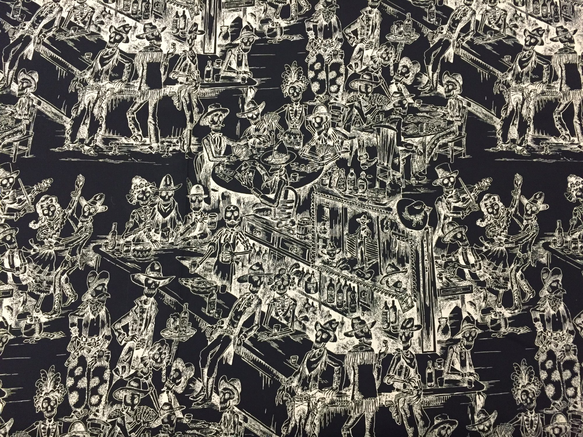 Dia de los Muertos Spooky Saloon Skeleton Toile Day of the Dead Skele-Toile Cotton Quilt Fabric AH183