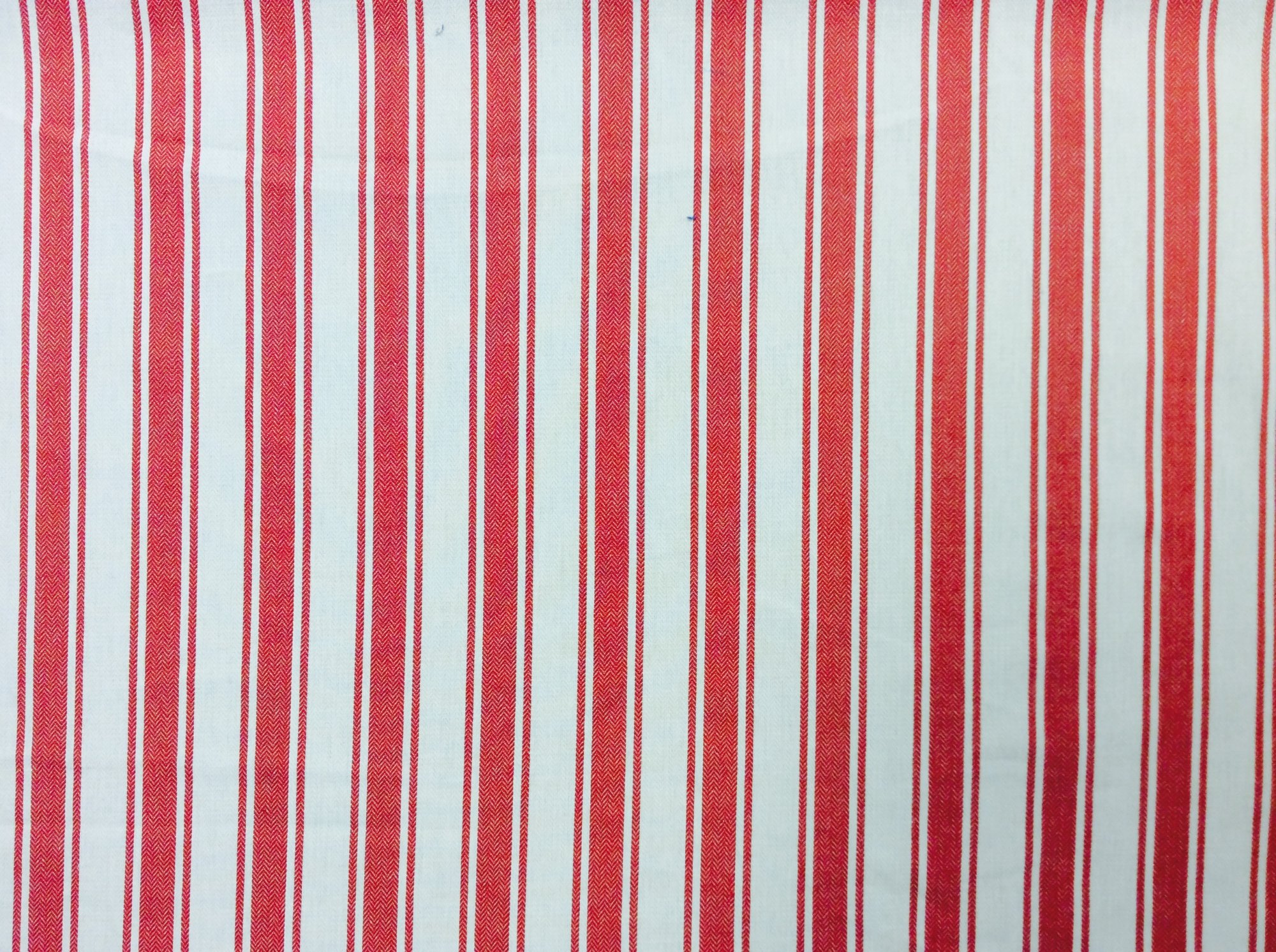 Red and Off-White twill woven ticking stripe.  Home decor. Drapery Apparel Fabric. CAR1501