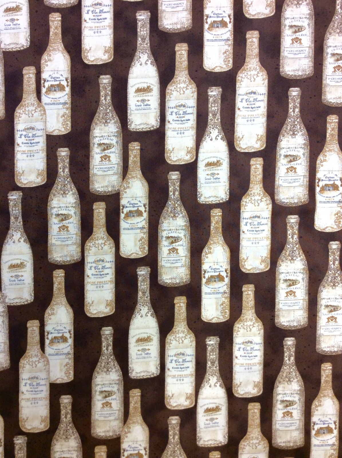 Wine Bottles Cotton Quilt Fabric MD338