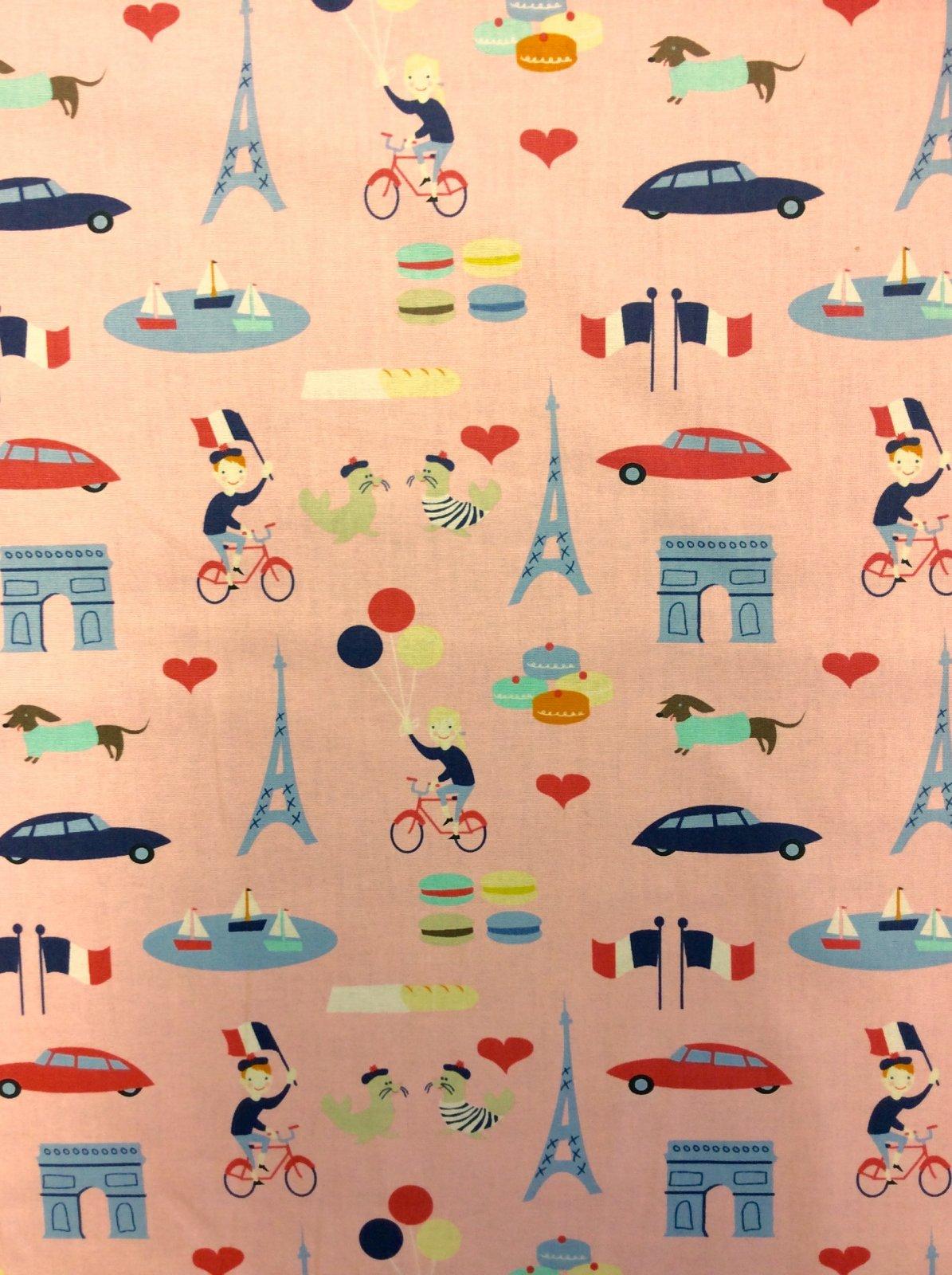 Paris France Retro French Street Scenes Eiffel Tower Bicycles Tourist Travel Cotton Quilt Fabric FT134