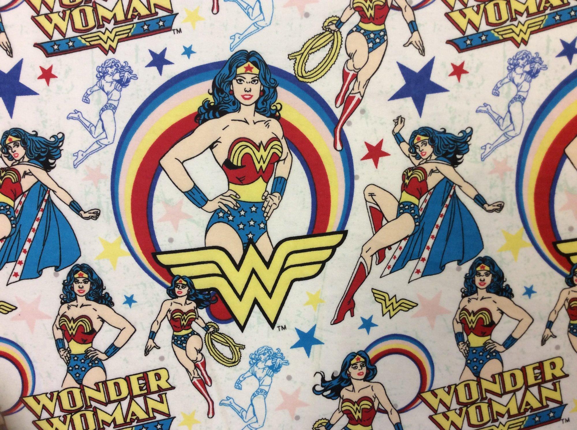 Wonderwoman DC Comics Wonder Woman Soft FLANNEL Super Hero Cotton Quilt Fabric. FT129