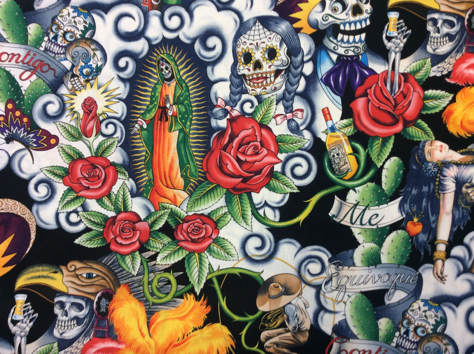 AH132 Contigo Day of the Dead Aztec Warrior Guadalupe Skeleton Rose Skull Mexico Cotton Fabric Quilt Fabric