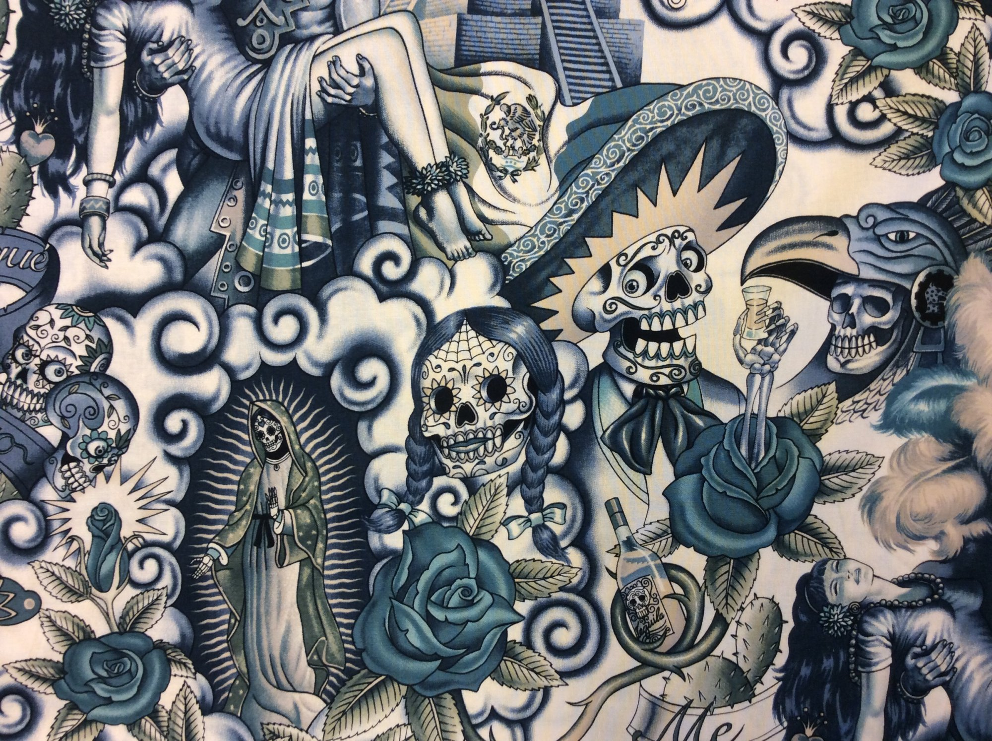 AH131 Mexico Indigo Sepia Tone Contigo Indian Aztec Guadalupe Skeleton Day of the Dead Skull Roses Sombrero Cream Cotton fabric Quilt fabric