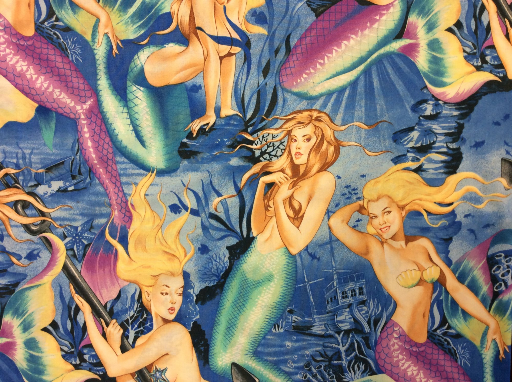Sexy Pin Up Girls Sea Sirens Mermaid Hot Print Alexander Henry Cotton Fabric Quilt Fabric CR541