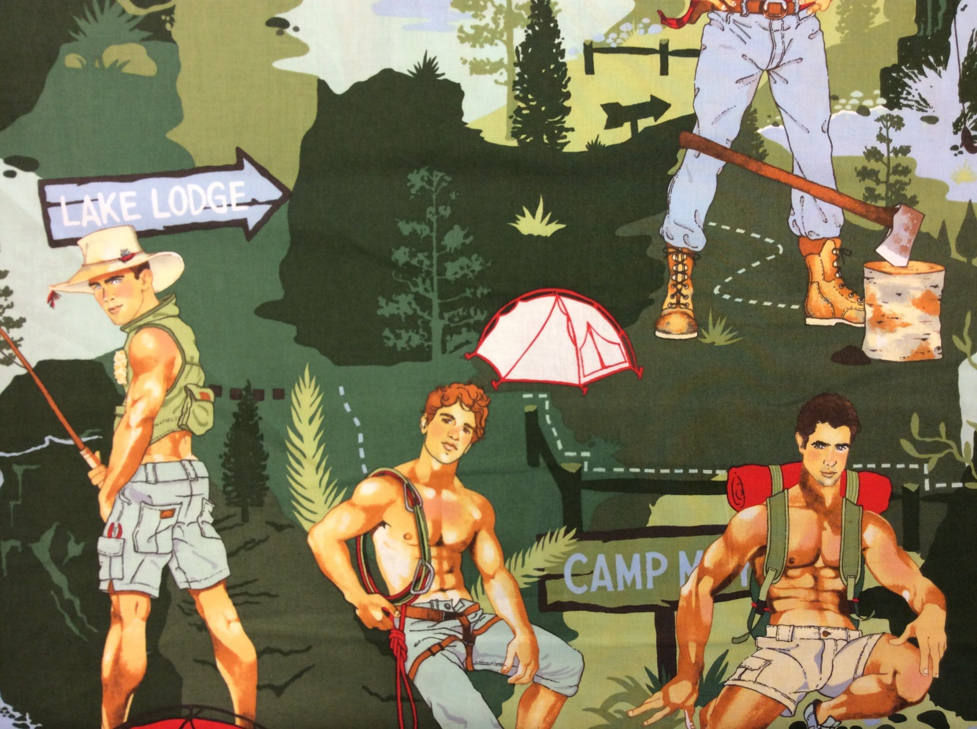 Sexy Pin Up Guy Outdoor Camper Lumberjack Back Woods Fisherman Guys Cotton Fabric Quilting Fabric CR292 AH116