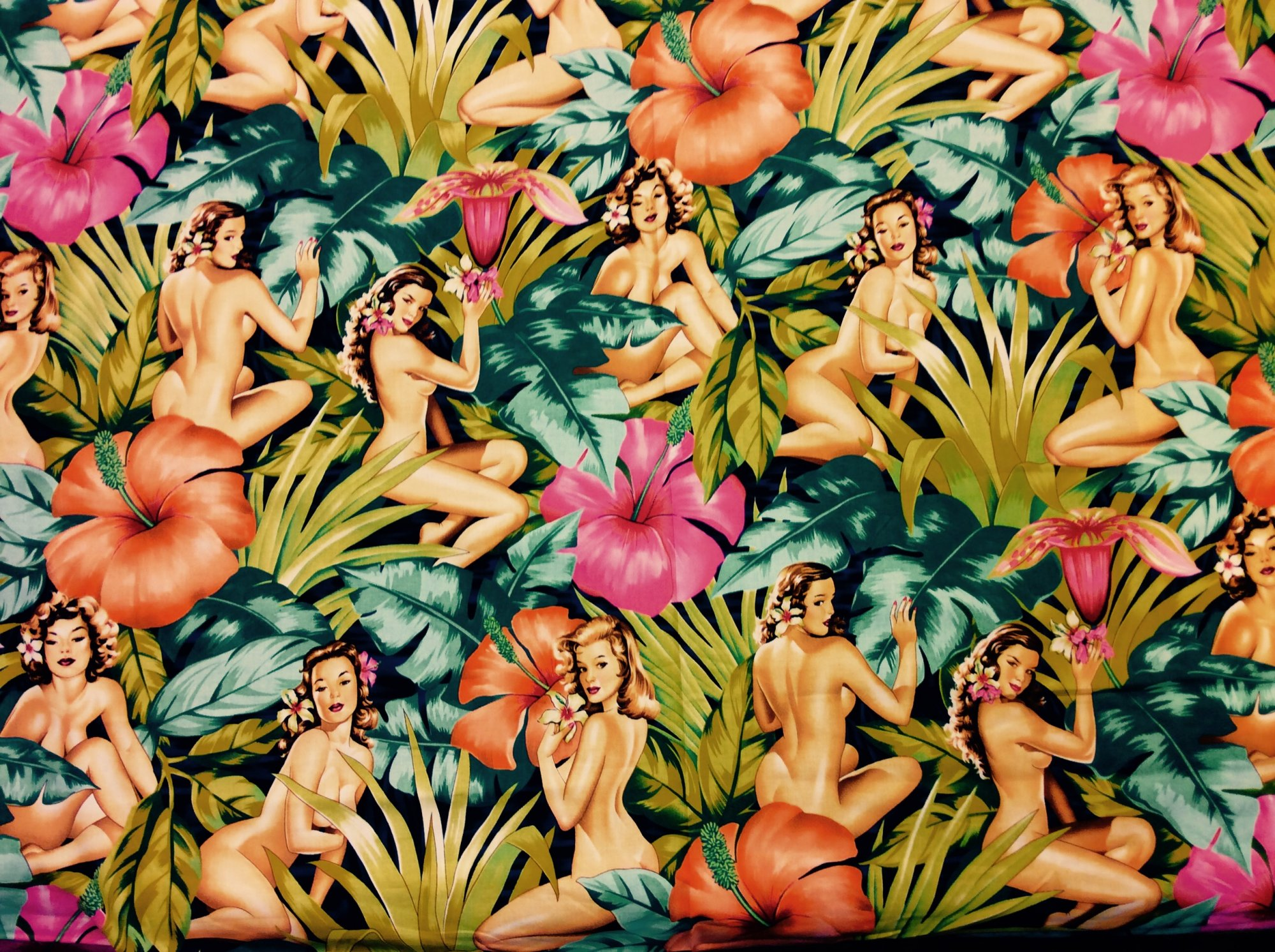 Sexy Pin Up Girls Mirage Retro Girls Hula Hawaii Surf Hibiscus Tropical Leaves Orchids Cotton Fabric Quilt Fabric T08
