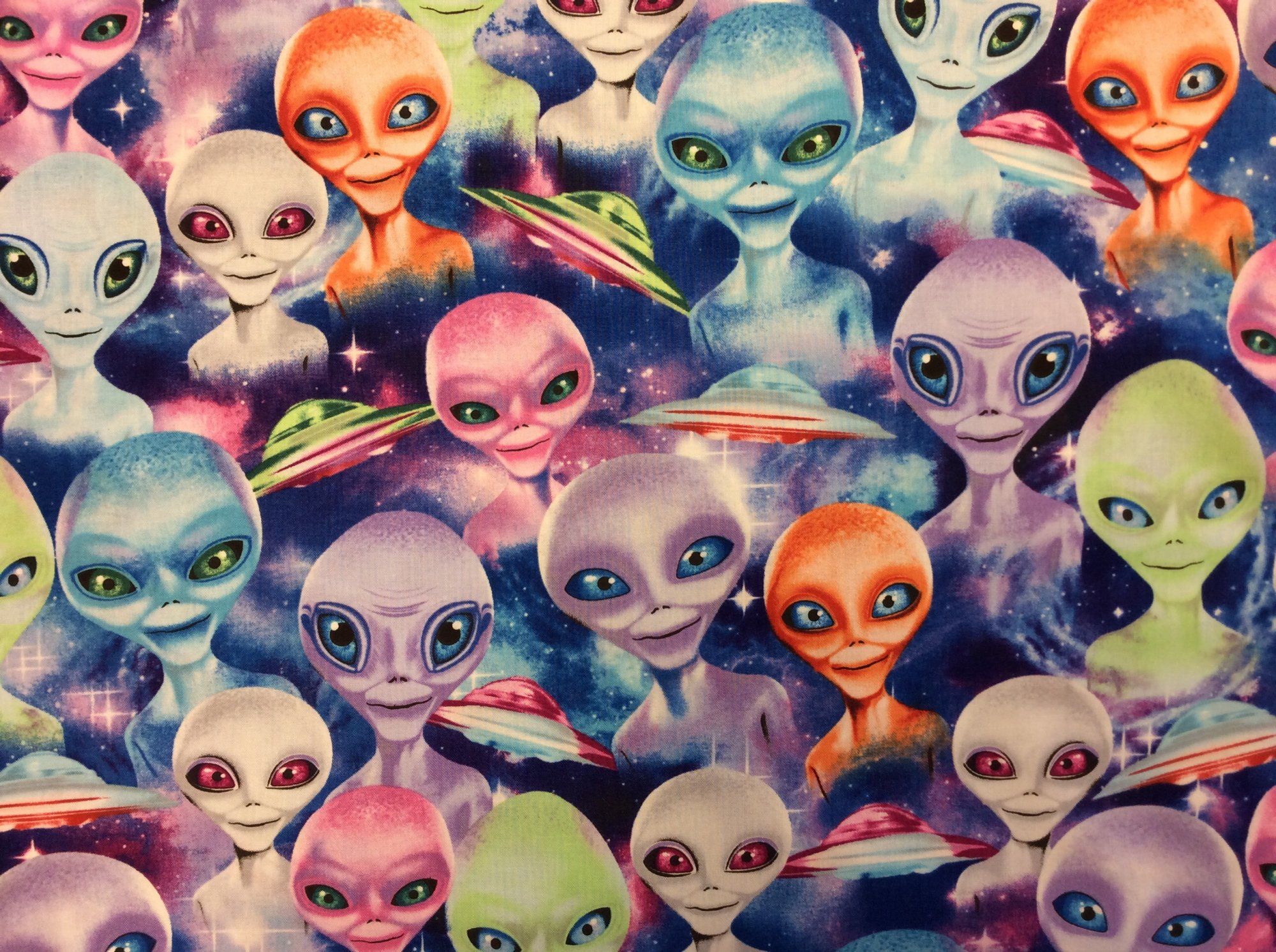 UFO Spaceship Alien Galaxy Outer Space Galactic Ship Area 51 War of the Worlds Cotton Quilt Fabric FT136